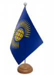 Commonwealth Desk / Table Flag with wooden stand and base